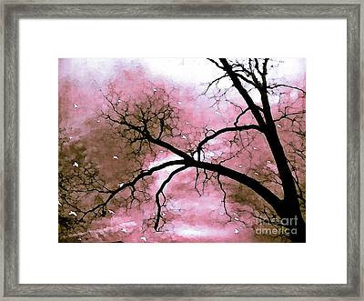 Dreamy Pink Surreal Trees Fantasy Nature Framed Print by Kathy Fornal