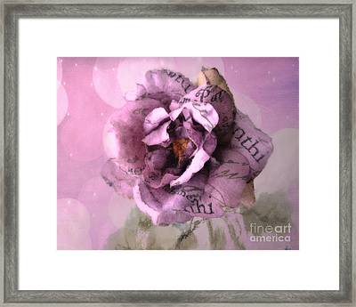 Dreamy Purple Pink Impressionistic Romantic Shabby Chic Cottage Purple Lavender Rose Floral Art Framed Print by Kathy Fornal