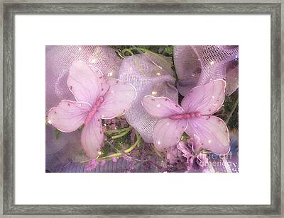 Dreamy Romantic Cottage Chic Shabby Chic Butterflies Purple Lilac  Framed Print by Kathy Fornal