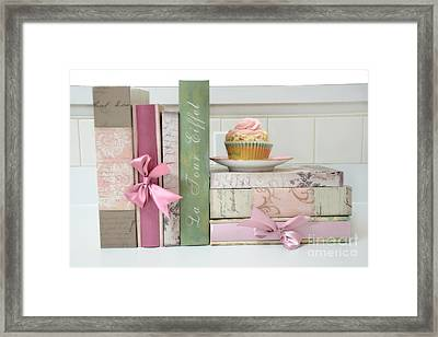 Dreamy Romantic Pastel Shabby Chic Cottage Chic Books With Pink Cupcake - Food Photography Framed Print by Kathy Fornal