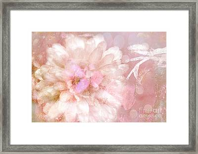 Dreamy Romantic Pink Rose Floral Abstract Framed Print by Kathy Fornal