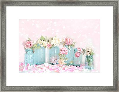 Dreamy Shabby Chic Pink White Roses  - Vintage Aqua Teal Ball Jars Romantic Floral Roses  Framed Print by Kathy Fornal