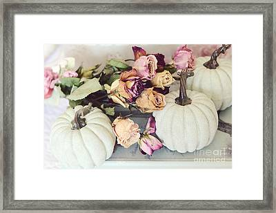 Dreamy Shabby Chic Cottage Autumn Fall Pastel Pumpkins And Dried Roses Framed Print by Kathy Fornal