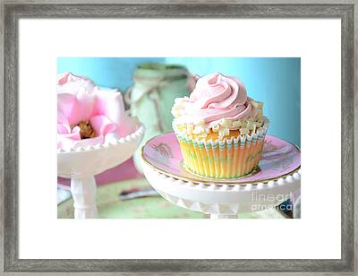 Dreamy Shabby Chic Cupcake Vintage Romantic Food And Floral Photography - Pink Teal Aqua Blue  Framed Print by Kathy Fornal