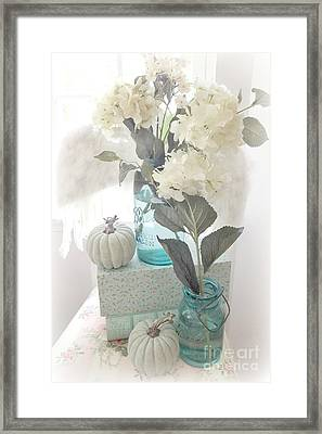 Dreamy Shabby Chic Pastel White Hydrangeas In Aqua Mason Jars - Autumn Fall Cottage Floral Decor Framed Print by Kathy Fornal