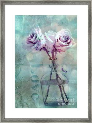 Dreamy Shabby Chic Pink Roses Teal Aqua Impressionistic Cottage Pink And Teal Love Print Framed Print by Kathy Fornal