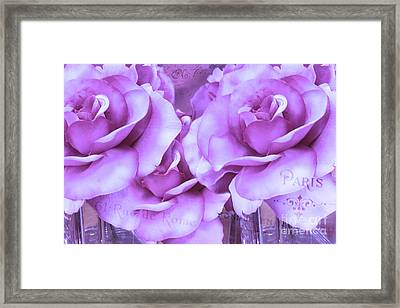 Dreamy Shabby Chic Purple Lavender Paris Roses - Dreamy Lavender Roses Cottage Floral Art Framed Print by Kathy Fornal