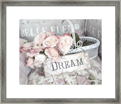 Dreamy Shabby Chic Romantic Cottage Chic Roses In White Basket  Framed Print by Kathy Fornal