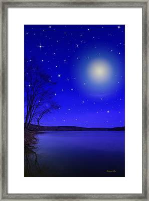 Dreamy Stars At Night Framed Print by Christina Rollo
