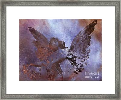 Dreamy Surreal Angel Art - Ethereal Angel Celestial Purple And Bronze Heavenly Angel Art Framed Print by Kathy Fornal