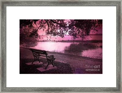 Dreamy Surreal Beaufort South Carolina Lake And Bench Scene Framed Print by Kathy Fornal
