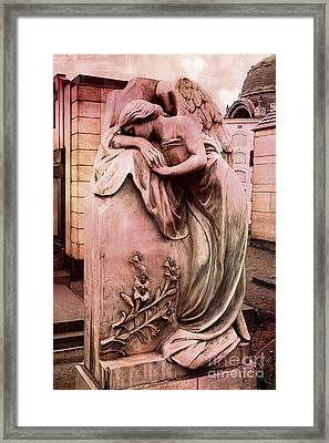 Dreamy Surreal Beautiful Angel Art Photograph - Angel Mourning Weeping At Gravestone  Framed Print by Kathy Fornal