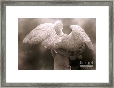 Dreamy Surreal Ethereal Angel Art Wings - Spiritual Ethereal Angel Art Wings Framed Print by Kathy Fornal