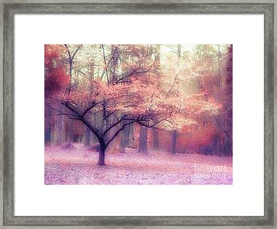 Dreamy Surreal Fall Autumn Ethereal Trees Nature Landscape South Carolina Nature Landscape Framed Print by Kathy Fornal
