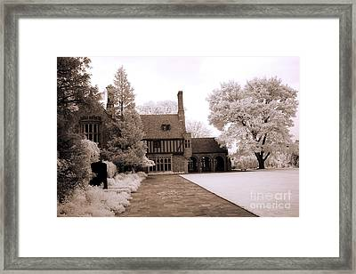 Dreamy Surreal Infrared Michigan Meadowbrook Mansion Landscape Framed Print by Kathy Fornal