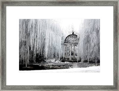 Dreamy Surreal Infrared Nature Ethereal Trees With Gazebo  Framed Print by Kathy Fornal