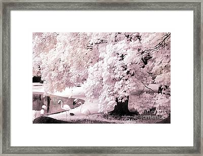 Dreamy Surreal Pink White Infrared Pink Flamingos In Pond - Pink Flamingos Dreamy Nature Landscape Framed Print by Kathy Fornal