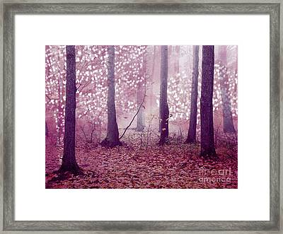 Dreamy Surreal Sparkling Twinkling Lights Pink Mauve Woodlands Tree Nature Framed Print by Kathy Fornal