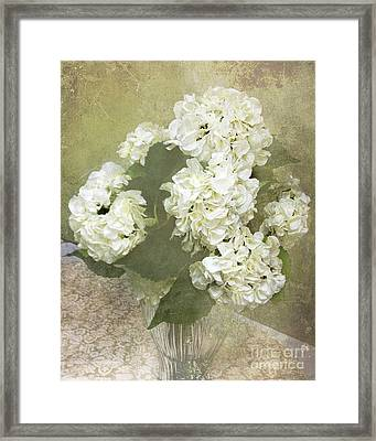 Dreamy Vintage Cottage Chic White Hydrangeas - Shabby Chic Dreamy White Floral Art  Framed Print by Kathy Fornal