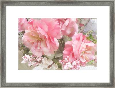 Dreamy Vintage Cottage Shabby Chic Pink Roses - Romantic Roses Framed Print by Kathy Fornal