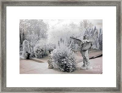 Dreamy White Angel Fantasy Infrared Nature Framed Print by Kathy Fornal