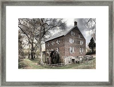 Dreary Skies At Kerr Gristmill Framed Print by Adam Jewell