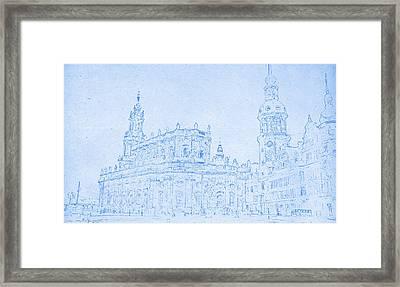 Dresden Germany Blueprint Framed Print by Celestial Images