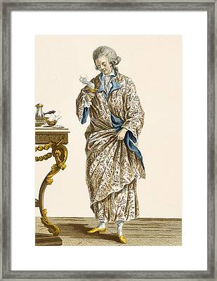 Dressing Gown In Printed Cotton Framed Print by Pierre Thomas Le Clerc