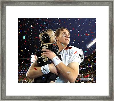 Drew Brees Framed Print by Paul Tagliamonte