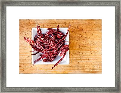Dried Chilli Framed Print by Tim Hester