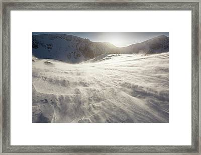 Drifting Snow In Cairngorm Framed Print by Ashley Cooper