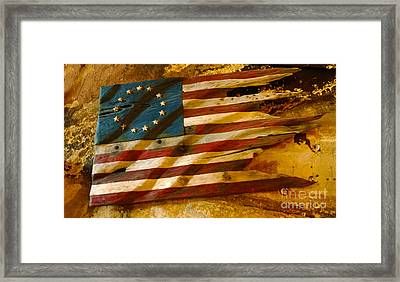 Driftwood Flag Framed Print by Cheryl Young