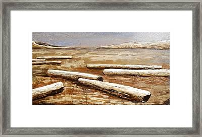 Driftwood Logs On The Beach Framed Print by Lori McPhee