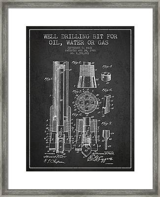Drilling Bit For Oil Water Gas Patent From 1920 - Dark Framed Print by Aged Pixel