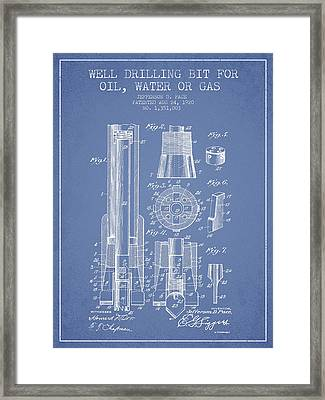 Drilling Bit For Oil Water Gas Patent From 1920 - Light Blue Framed Print by Aged Pixel