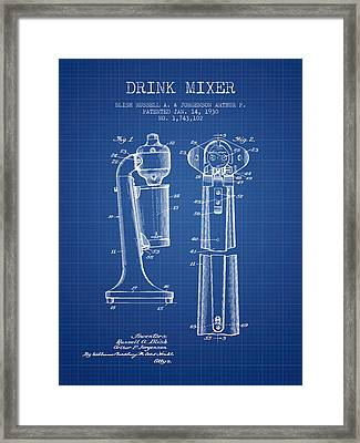 Drink Mixer Patent From 1930 - Blueprint Framed Print by Aged Pixel