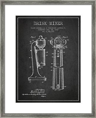 Drink Mixer Patent From 1930 - Dark Framed Print by Aged Pixel