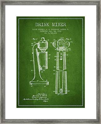 Drink Mixer Patent From 1930 - Green Framed Print by Aged Pixel