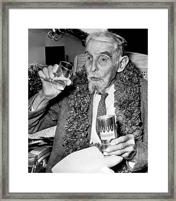 Drinking Beer At Age 107 Framed Print by Underwood Archives