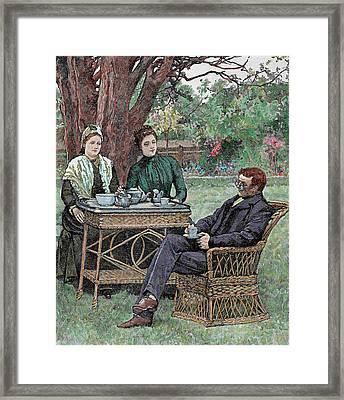 Drinking Coffee In The Garden Framed Print by Prisma Archivo