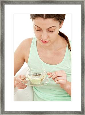 Drinking Tea Framed Print by Lea Paterson