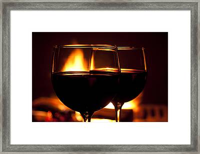 Drinks By The Fire Framed Print by Andrew Soundarajan
