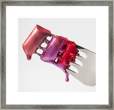 Dripping Lipstick Framed Print by Garry Gay