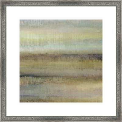 Dripscape V - Green Framed Print by Cora Niele