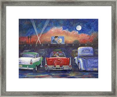 Drive-in Movie Theater Framed Print by Linda Mears