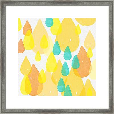 Drops Of Sunshine- Abstract Painting Framed Print by Linda Woods