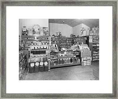 Drugstore Interior Framed Print by Underwood Archives