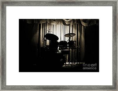 Drum Set On Stage Photograph Combo Jazz Sepia 3234.01 Framed Print by M K  Miller