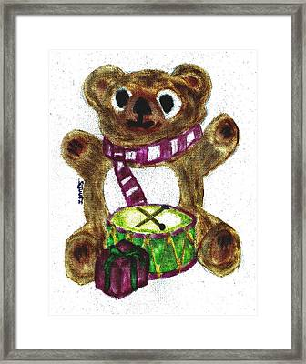 Christs Birthday Framed Print featuring the pastel Drummer Teddy by Shaunna Juuti