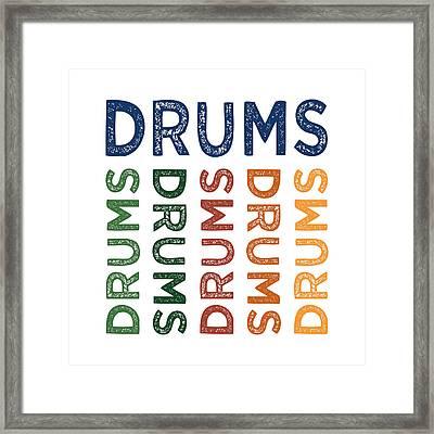 Drums Cute Colorful Framed Print by Flo Karp